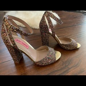 Betsey Johnson multi colored glitter sandals